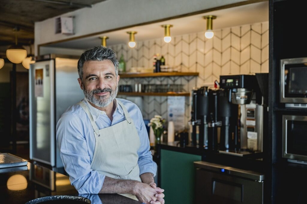 male barista in the workplace